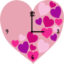 Pink Love Heart Clock