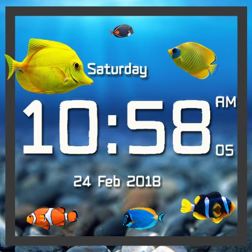 Aquarium live wallpaper with digital clock