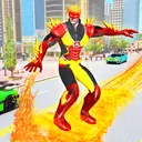 Flying Police Robot Fire Hero: Gangster Crime City