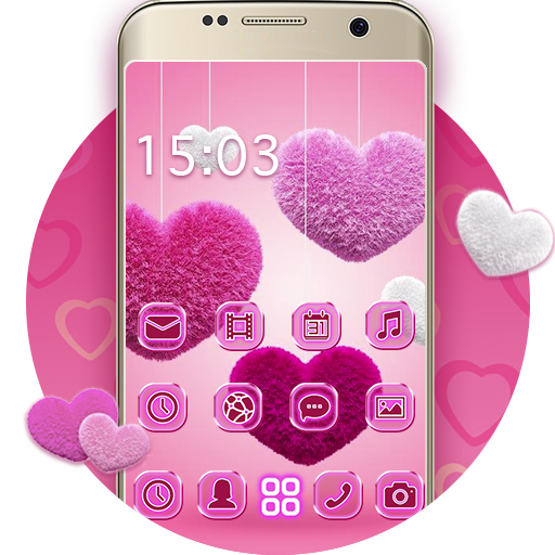 Fluffy diamond Hearts Theme: Pink Comics Launcher