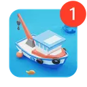 Fish idle: hooked tycoon. Fishing boat, hooking