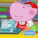 Cashier in the supermarket. Games for kids