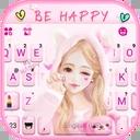 Cute Wink Girl Keyboard Theme