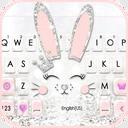 Silver Glitter Bunny Keyboard Theme