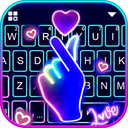 Love Heart Neon Keyboard Theme