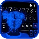 Neon Blue Girl Keyboard Theme