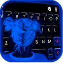 Neon Blue Girl Keyboard Theme