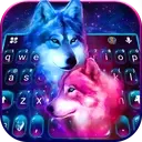 Neon Wolf Galaxy Keyboard Theme