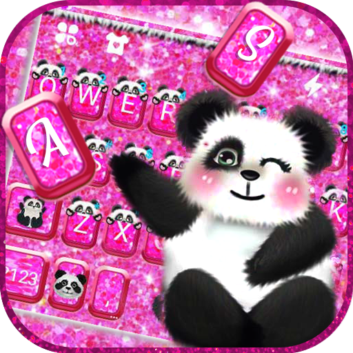 Hot Pink Panda keyboard Theme