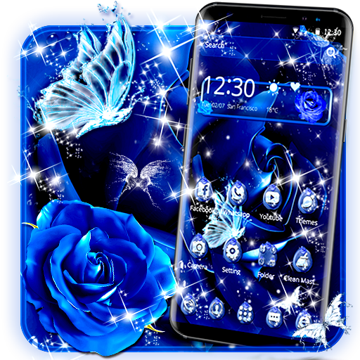 Blue Rose Raindrops Theme