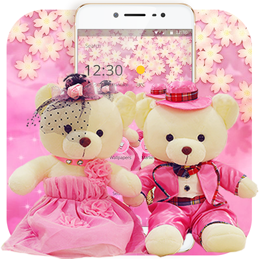 Cute Pink Teddy Bear Blooms Theme
