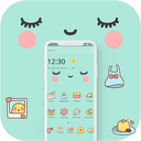 Blue Cute Cartoon Sweet Face Theme