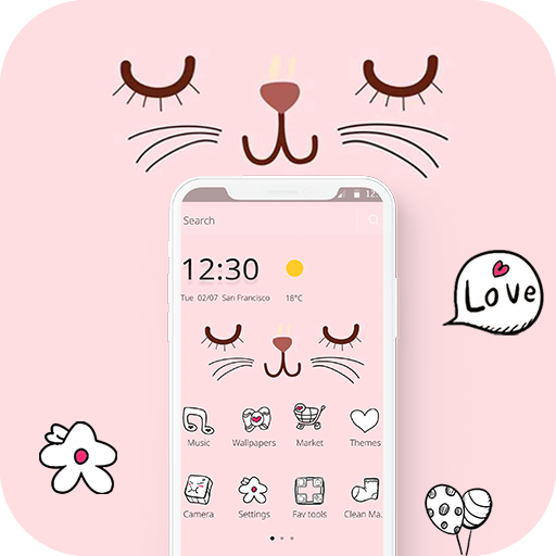 Pink Cute Cartoon Kitty Face Theme