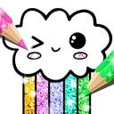 Kawaii Coloring Book Glitter