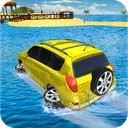 Water Surfer Jeep Cars Race on Miami Beach