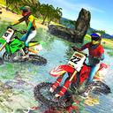 Beach Water Surfer Bike Racing