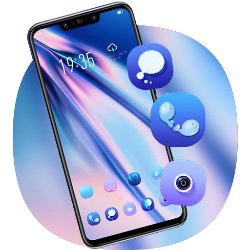 Blue purple colorful theme galaxy note 10 launcher
