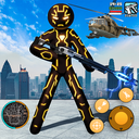 Amazing Neon Iron Stickman Rope Hero Gangstar City