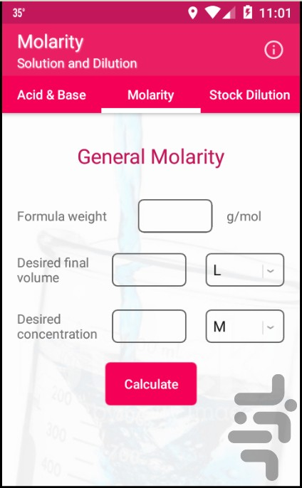 Molarity Calculator for Android - Download   Cafe Bazaar