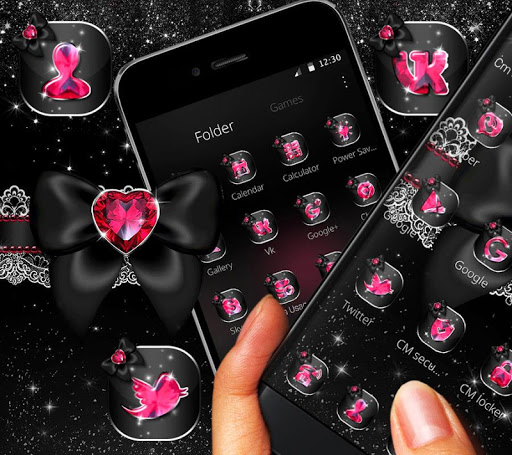 Golden Black Pink Heart Diamond Theme For Android Download Cafe Bazaar