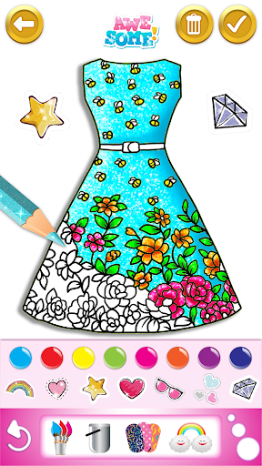 Glitter Dress Coloring And Drawing Book For Kids For Android Download Cafe Bazaar