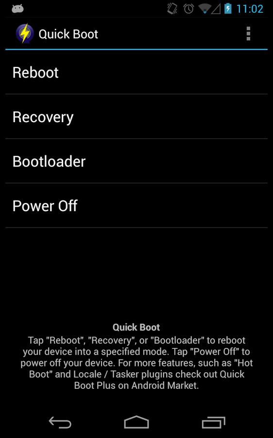 اپلیکیشن quick boot - بوت (boot) کردن گوشی در حالت ریکاوری (Recovery mode)