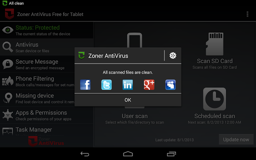 Zoner AntiVirus - Tablet
