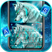 Cyan Neon Wolf Keyboard Theme