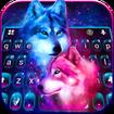 Neon Wolf Galaxy Keyboard Theme