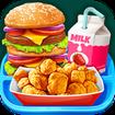 School Lunch Food - Burger, Popcorn Chicken & Milk