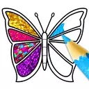 Glitter Butterfly Coloring - Learn Colors