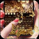 Gold Glitter Butterfly Keyboard