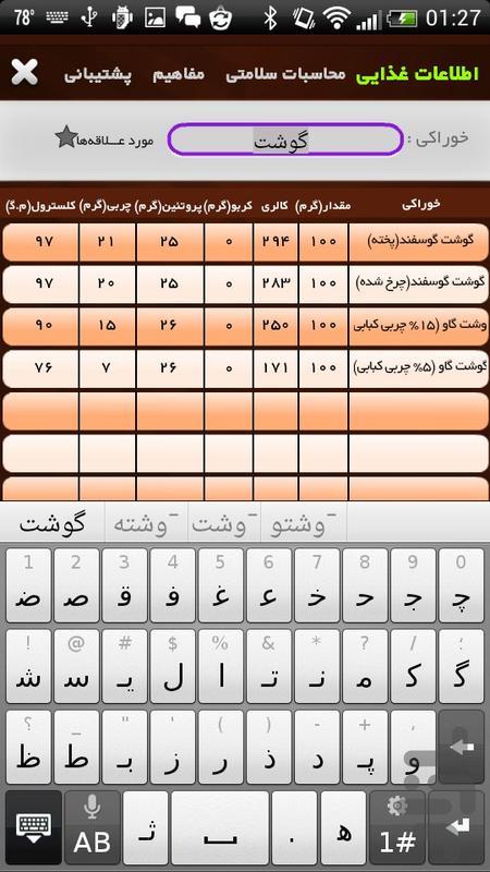 مرجع اطلاعات غذایی - عکس برنامه موبایلی اندروید