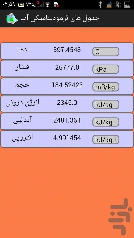 جدول های ترمودینامیکی آب - عکس برنامه موبایلی اندروید