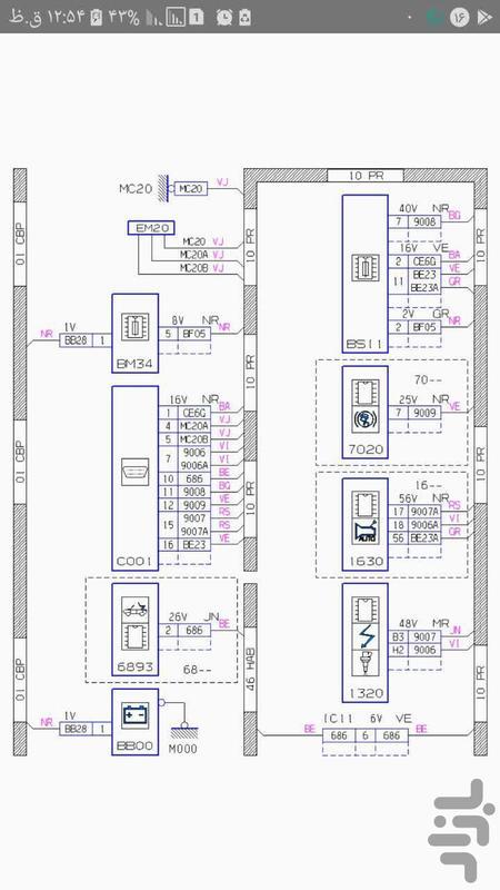 نقشه های الکتریکی پژو 206 - عکس برنامه موبایلی اندروید