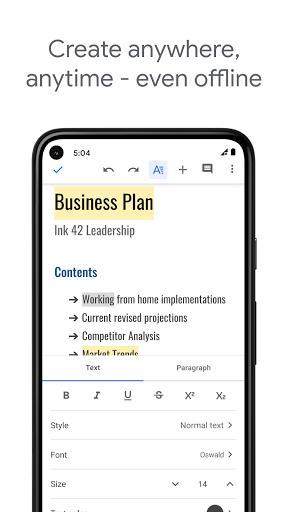 Google Docs - عکس برنامه موبایلی اندروید