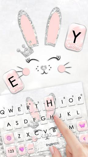 Silver Glitter Bunny Keyboard Theme - عکس برنامه موبایلی اندروید