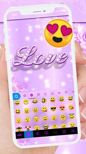 Purple Diamond Love Keyboard Theme - عکس برنامه موبایلی اندروید