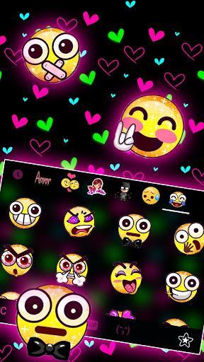 Shiny Neon Hearts Keyboard Theme - عکس برنامه موبایلی اندروید