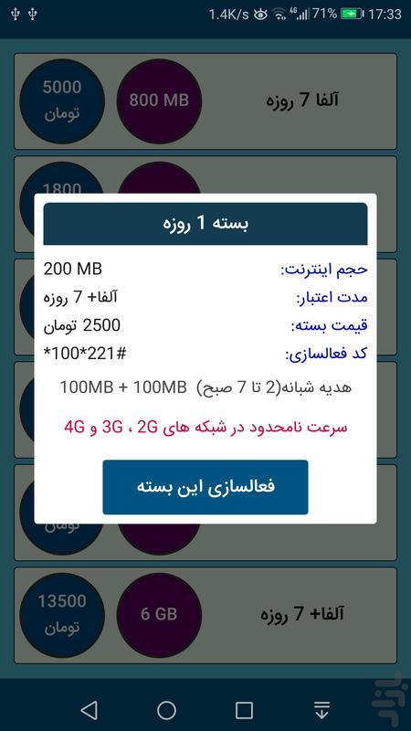 بسته اینترنت همراه اول (غیر رسمی) - عکس برنامه موبایلی اندروید