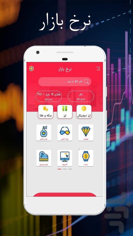 نرخ بازار - قیمت ارز و سکه و طلا - عکس برنامه موبایلی اندروید