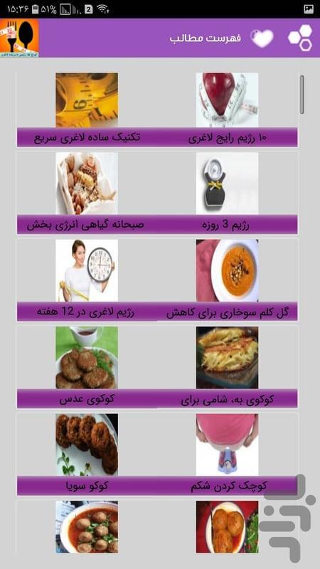 انواع غذا رژیمی + برنامه لاغری - عکس برنامه موبایلی اندروید