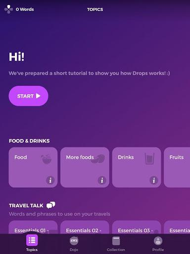 Drops  - آموزش زبان - عکس برنامه موبایلی اندروید
