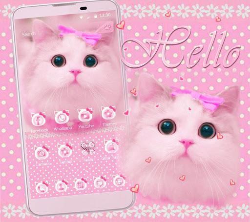 Cute Kitty theme Pink Bow Kitty - عکس برنامه موبایلی اندروید