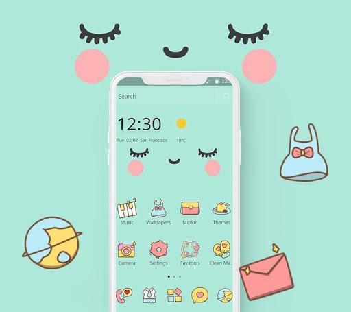 Blue Cute Cartoon Sweet Face Theme - عکس برنامه موبایلی اندروید