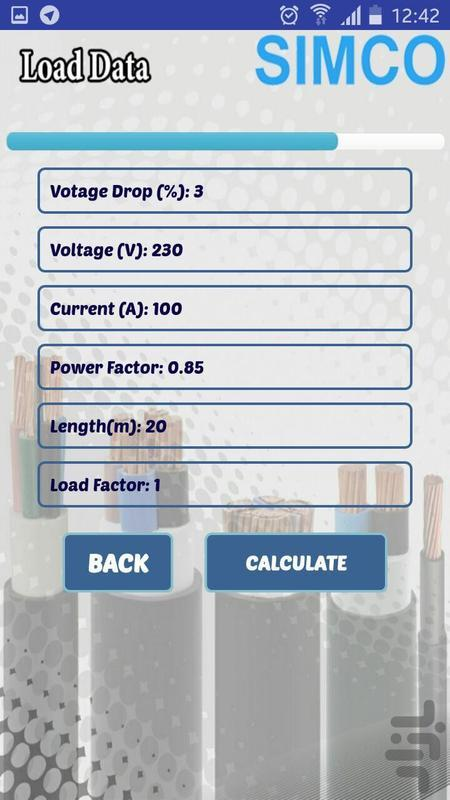 محاسبه سطح مقطع كابل - عکس برنامه موبایلی اندروید