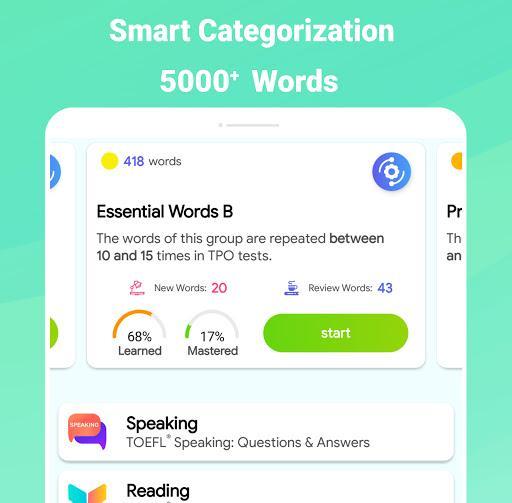 Vocabulary for TOEFL® - TPO® Words Flashcards - عکس برنامه موبایلی اندروید