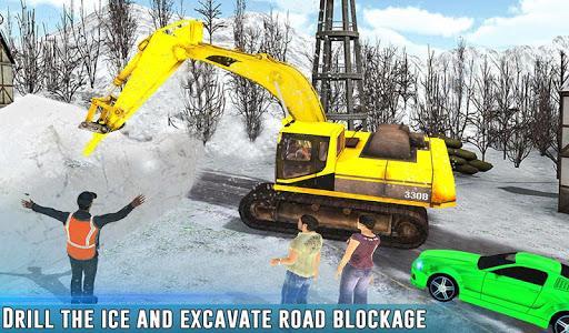 Snow Driving Rescue Plow Excavator Crane Operator - عکس بازی موبایلی اندروید