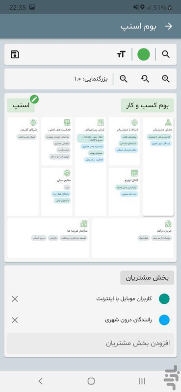 بوم ساز مدل کسب و کار - عکس برنامه موبایلی اندروید