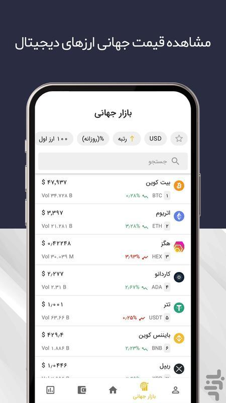 رمزینکس I بازار ارز دیجیتال - عکس برنامه موبایلی اندروید